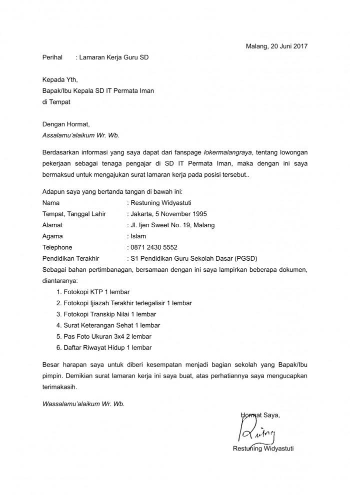 contoh surat lamaran kerja guru gru