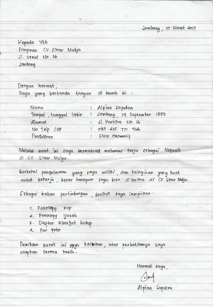 Membuat Contoh Lamaran Kerja Tulis Tangan