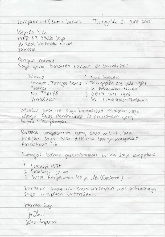 Contoh surat lamaran kerja tulis tangan