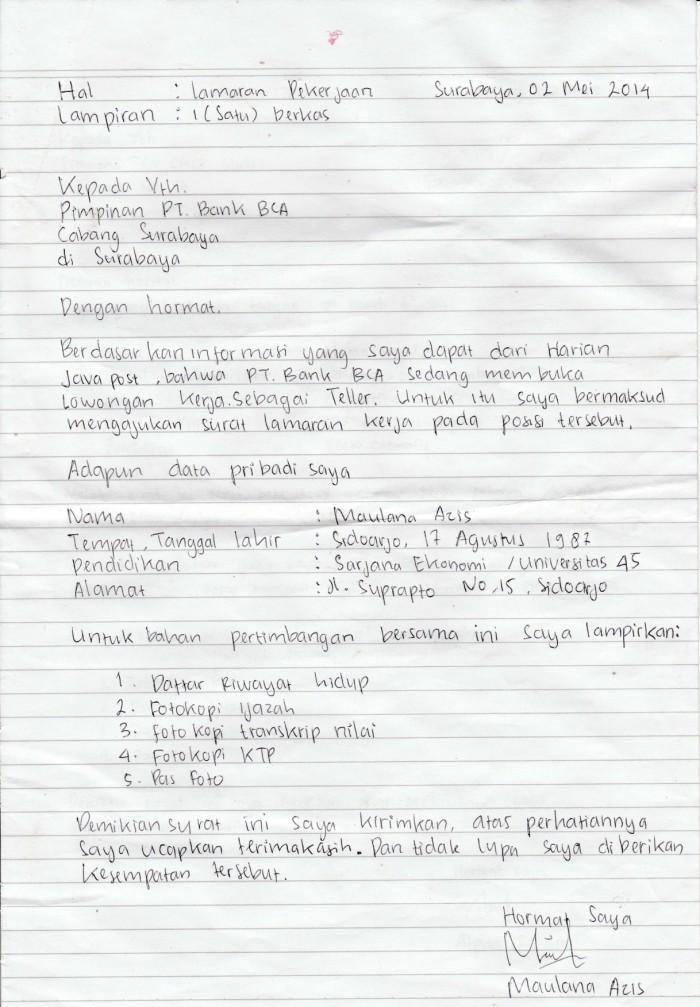 surat lamaran kerja tulisan tangan