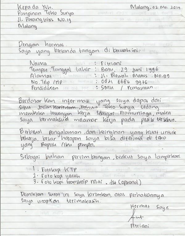contoh surat lamaran kerja ditulis tangan