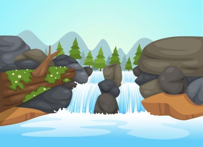gambar pemandangan air terjun kartun