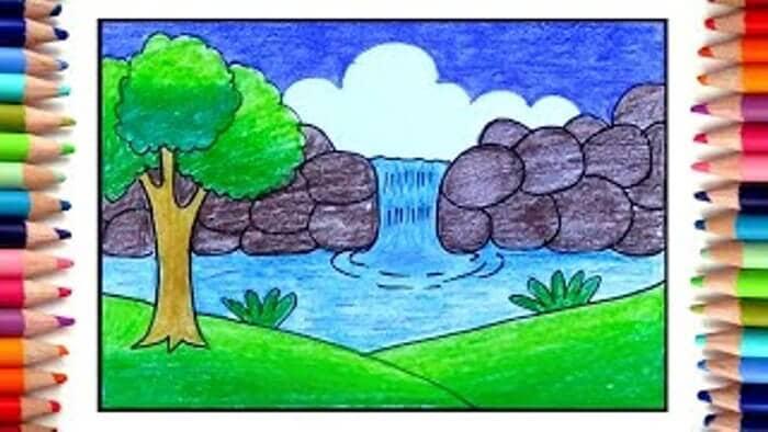 18 Contoh Gambar Pemandangan Air Terjun Referensi Menggambar