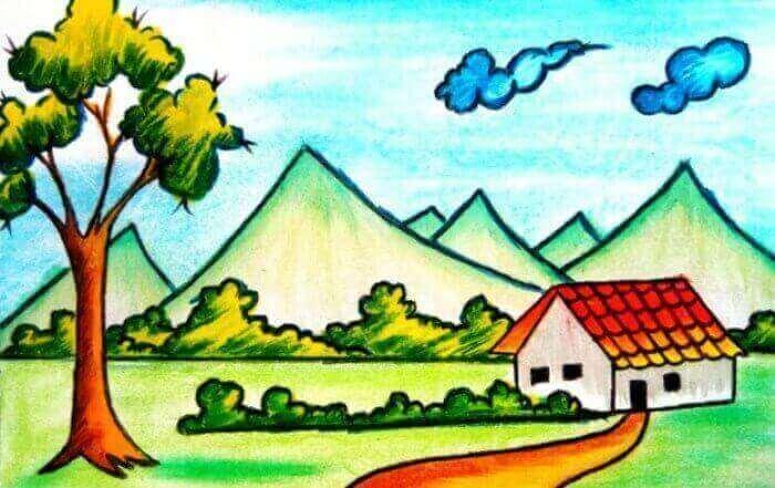 menggambar gunung