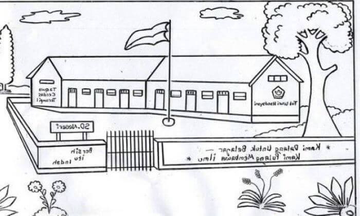 gambar pemandangan kartun hitam putih