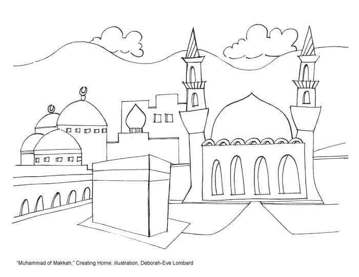sketsa gamabr masjid