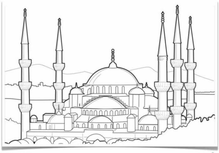 15 Contoh Mewarnai Gambar Masjid Beragam Desain Broonet