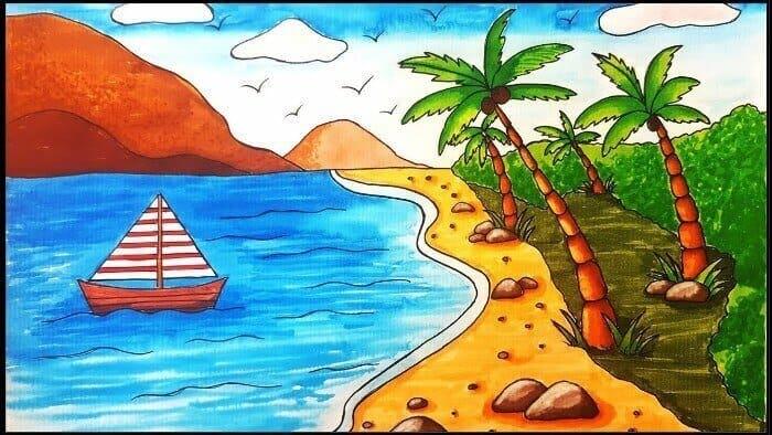 gambar pemandangan pantai anak sd