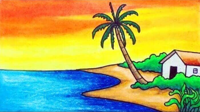 gambar suasana pantai di sore hari