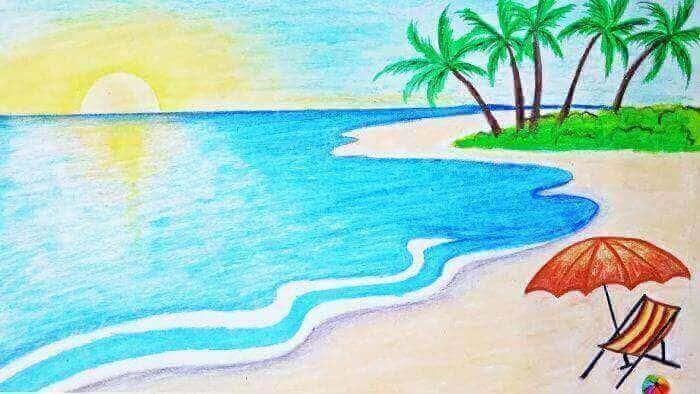18 Contoh Gambar Pemandangan Pantai Yang Mudah Ditirukan