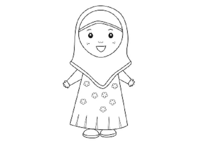 mewarnai gambar kartun muslimah