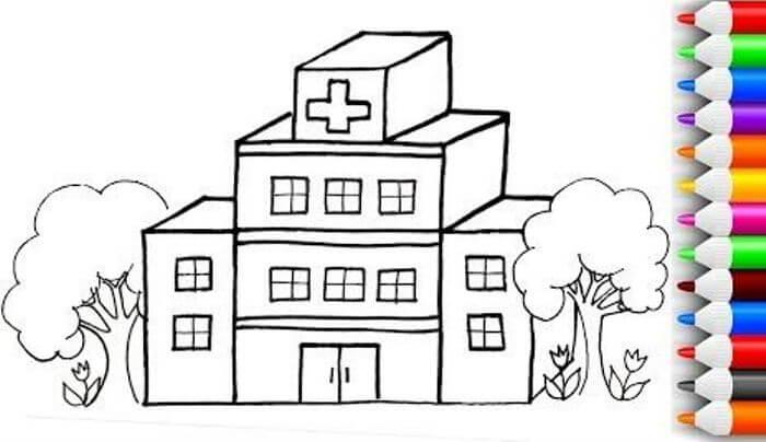 mewarnai gambar rumah sakit