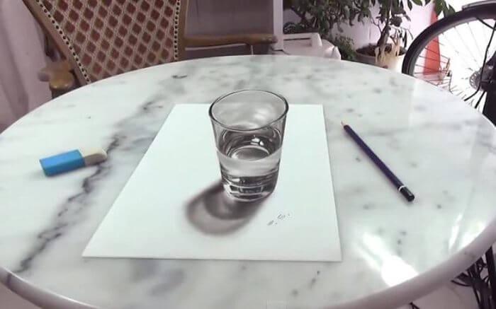 contoh gambar 3 dimensi gelas