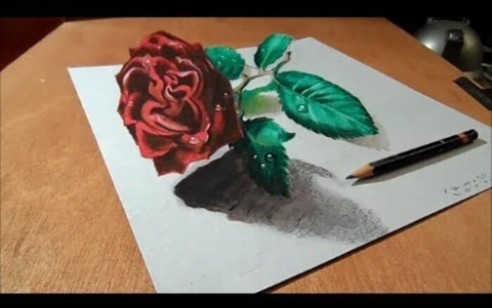 contoh gambar 3 dimensi bunga