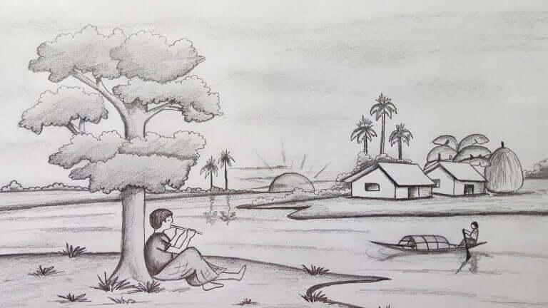 gambar sketsa pemandangan