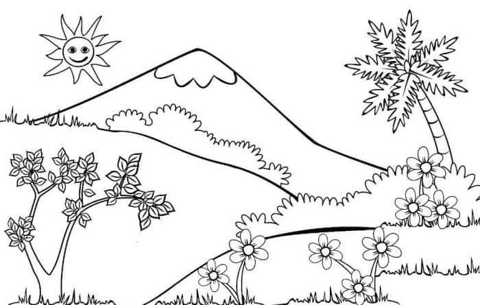 sketsa gambar gunung