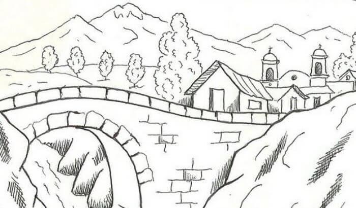 sketsa pemandangan pedesaan