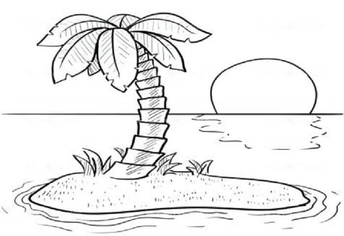 sketsa gambar pantai