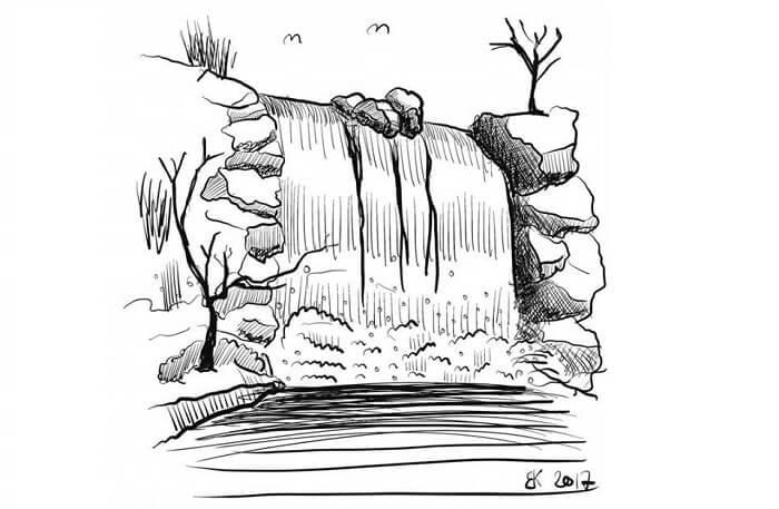 sketsa gambar air terjun