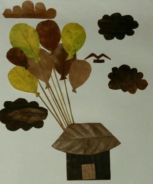 gambar kolase dari daun kering