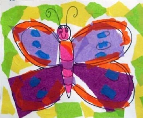 contoh gambar kolase kupu kupu