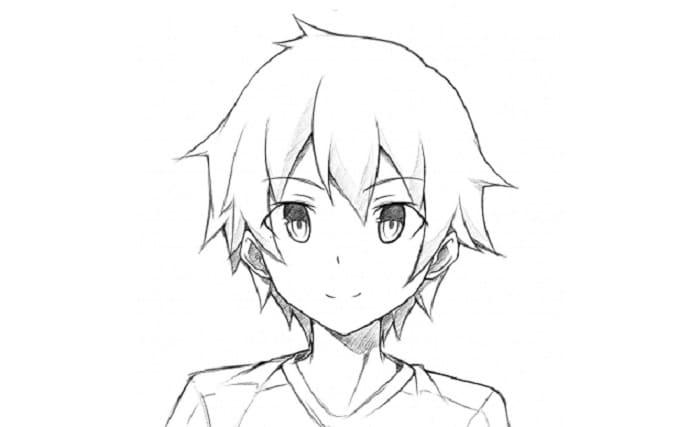 sketsa anime cowok